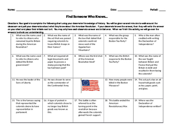American Revolution - Find Someone Who Knows - Review Activity