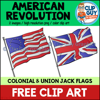 American Revolution Flags Clip Art FREEBIE {Clip Guy Graphics Clipart}