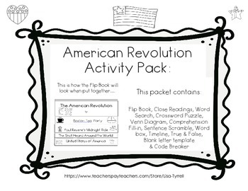 American Revolution Flip Book and Activity Pack