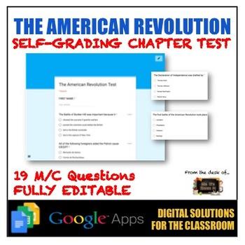 American Revolution: Fully-Editable Self Grading Test