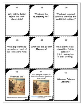 American Revolution Game- Questions about Building Tensions and the Acts