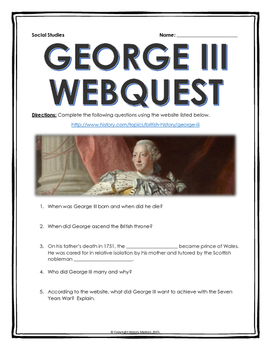 American Revolution - George III - Webquest with Key (Life