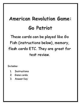American Revolution Go Fish, Matching game!