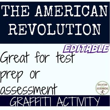 American Revolution Graffiti Activity EDITABLE