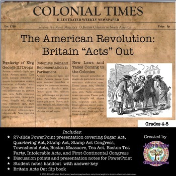 American revolution great britain acts out powerpoint tpt for Revolutionary war newspaper template