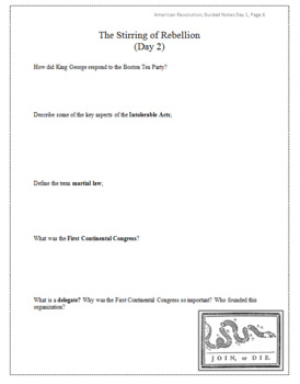 American Revolution Guided Notes Packet