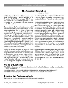 American Revolution Guiding Questions and Background Information