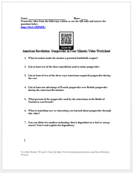 American Revolution: Gunpowder in Four Minutes Video Worksheet