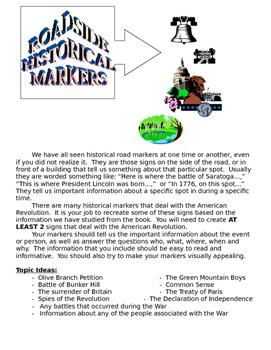 American Revolution - Historic Roadside Markers