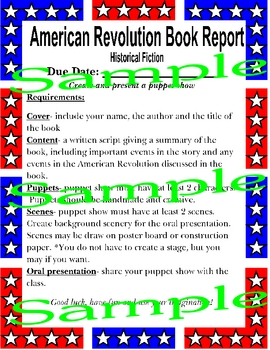 American Revolution Historical Fiction Book Project / Book Report