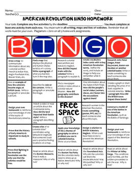 American Revolution Homework Bingo