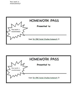 American Revolution Homework Pass