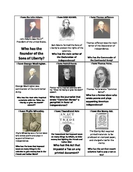 "American Revolution ""I Have, Who Has"" Loop Game Cards"