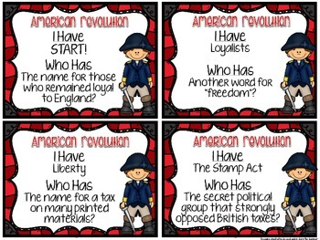 American Revolution I Have Who Has Review Game Activity