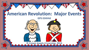 American Revolution:  Important Events PowerPoint, Stuctured Notes, & Quiz