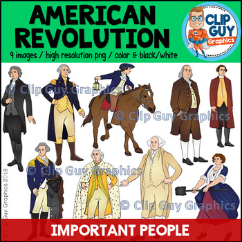 American Revolution Important People Clip Art Bundle {Clip Guy Graphics Clipart}