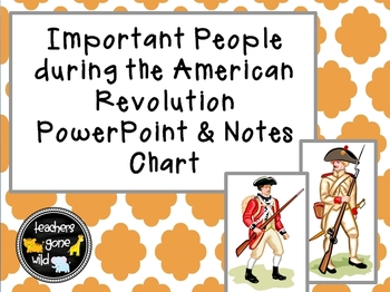 American Revolution Important People PowerPoint and Chart