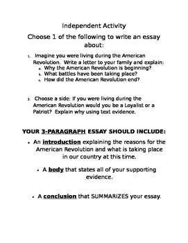 American Revolution Informational Essay Choices