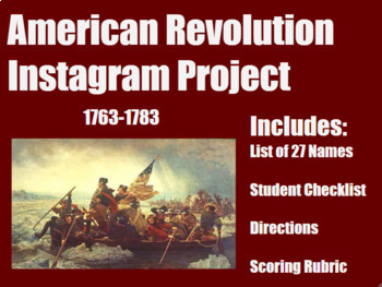 American Revolution Instagram  for Middle and High School History