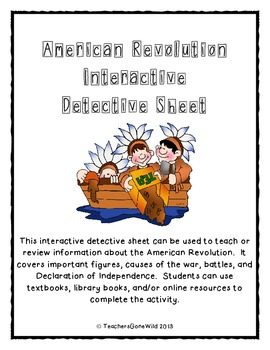 American Revolution Interactive Detective Worksheet