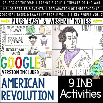 American Revolution Interactive Notebook Activities, US Revolutionary War INB