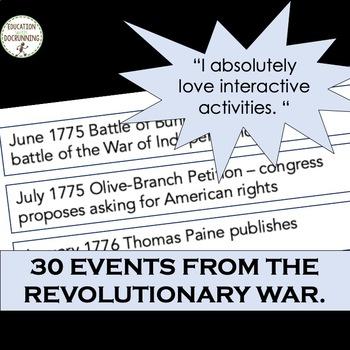 American Revolution Interactive Notebook Timeline Activity