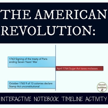 American Revolution Interactive Notebook Timeline Activity