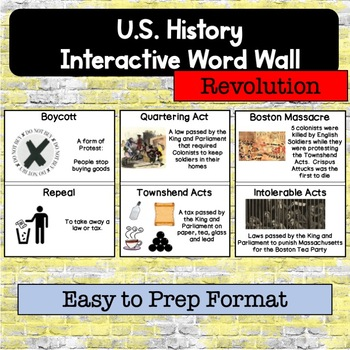 American Revolution Interactive Timeline and Word Wall