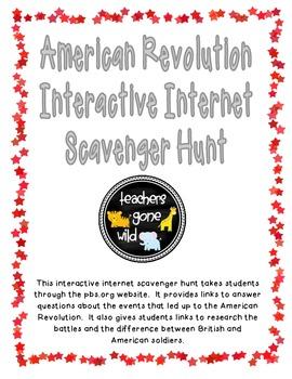 American Revolution Internet Scavenger Hunt