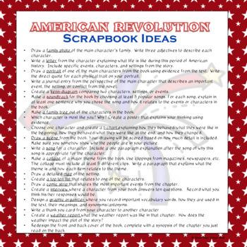 American Revolution Journaling Scrapbook – Novel Study - Distance Learning