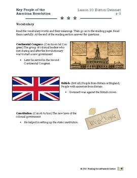 American Revolution - Key People Lesson 10 - Button Gwinnett