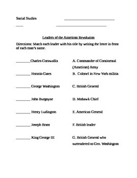 American Revolution Leaders