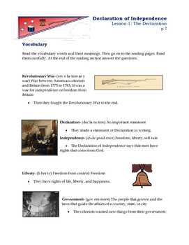 American Revolution - Declaration of Independence Lesson 1