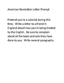 American Revolution Letter Prompt