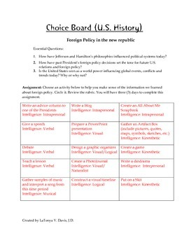 Choice Board-Foreign Policy