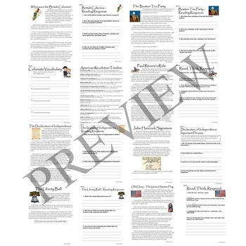 American Revolution Activity Packet Printable Worksheets