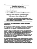 American Revolution: Loyalist vs. Patriot documents, organizer, and essay topic