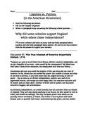 American Revolution: Loyalist vs. Patriot documents, organ