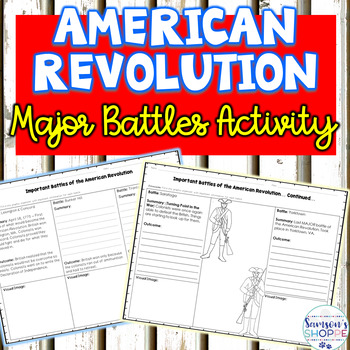 American Revolution Major Battles Graphic Organizer