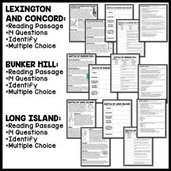 American Revolution Major Battles Reading Comprehension Worksheet