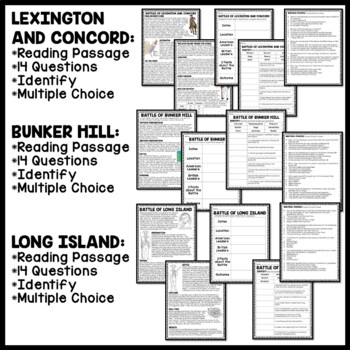 American Revolution Major Battles Reading Comprehension Worksheet