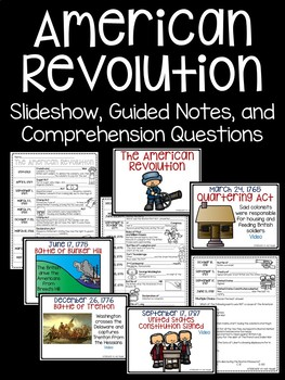 American Revolution Major Events Powerpoint Timeline, Guided Notes, Questions