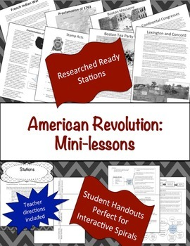 American Revolution Manipulatives