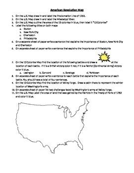 American Revolution Map Activity