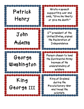 American Revolution Matching - Vocab, Important People, Battles, Causes