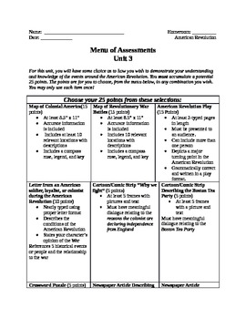 American Revolution Menu of Assessments (Chains)