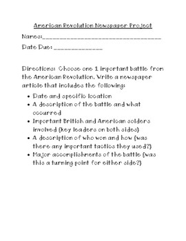 American Revolution Newpaper Project with Rubric
