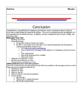 American Revolution Newspaper Project (with rubric and sample)