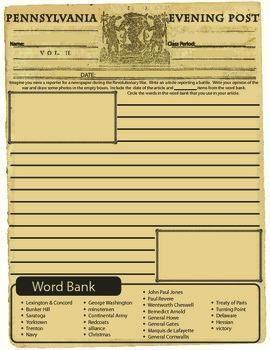 American Revolution Newspaper Revolutionary War Battles:Worksheet/Printable