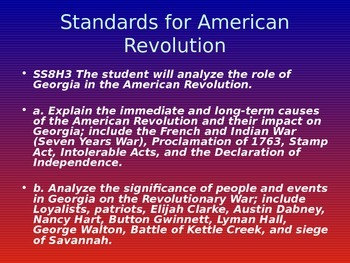 American Revolution Notes (Georgia History)